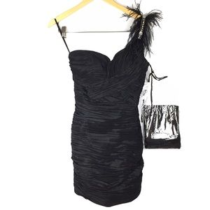 NWOT Aspeed feather flapper ruched mini dress